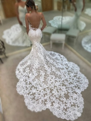Gorgeous Spaghetti-Straps V-Neck Mermaid Wedding Dresses | 2020 Lace Bridal Gowns On Sale_2
