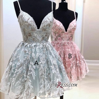 Alluring Spaghetti-Straps Appliques V-neck A-line Homecoming Dresses_2