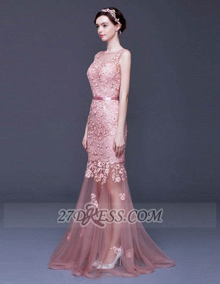Gorgeous Beadings Appliques Mermaid Prom Dress Lace-Up Sleeveless Evening Gowns_4