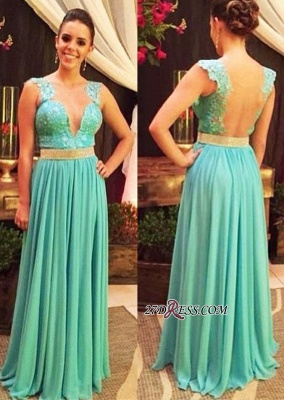 V-neck Lace Beading Floor-length Straps Hollow Blue Evening Dress_2