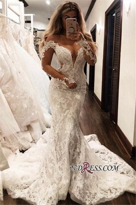 Gorgeous Lace Mermaid Wedding Dresses | Off The Shoulder Long Sleeves Prom Dress_2