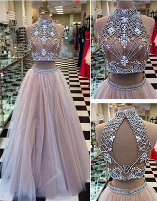 Gorgeous Two Pieces High-Neck Prom Dresses 2020 Beadings tulle A-Line_1