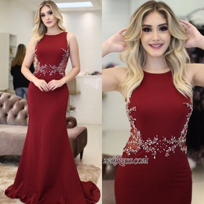 Red 2020 prom dress, mermaid evening dress with beads_3