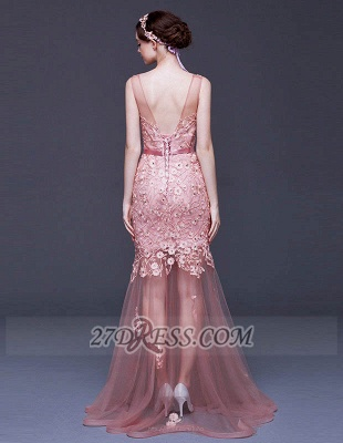 Gorgeous Beadings Appliques Mermaid Prom Dress Lace-Up Sleeveless Evening Gowns_2