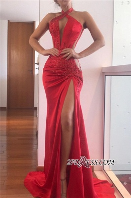 Halter Sexy Slit Sheath Red Applique Prom Dresses_1