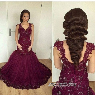 V-neck Beaded Lace Sheath Burgundy Puffy Straps Appliques Tulle Evening Gown_1