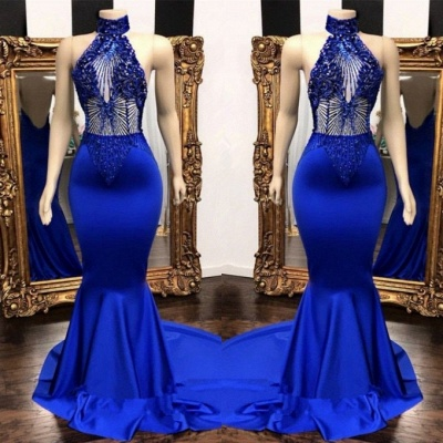 Stunning Royal Blue Mermaid Prom Dresses | 2020 Lace Beading Evening Gowns BC0798_2