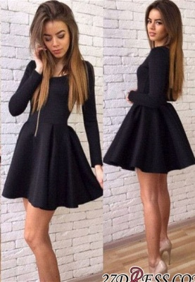 Black A-line Sexy Short Long-Sleeves Homecoming Dresses_3