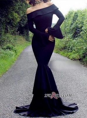 2020 Mermaid Long-Sleeve Off-the-Shoulder Black Sexy Evening Dress_2