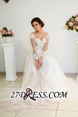 Zipper Elegant Long-Sleeve Button Sweep-Train Appliques A-line Lace Wedding Dress_4