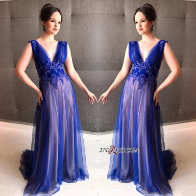 Royal blue prom dress, tight tulle evening gowns_2
