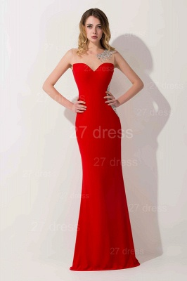 Sexy Mermaid Red Illusion Evening Dress Crystals Floor-length_2