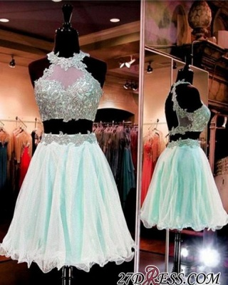 Halter Two-Pieces Sleeveless Short Popular Appliques Homecoming Dress_3