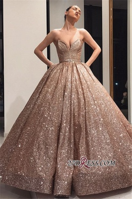 Ball-Gown Sleeveless Shiny Sweetheart Sashes Sequins Prom Dresses_3