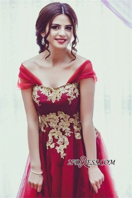 Tulle Off-the-Shoulder Appliques Glamorous A-line Bridesmaid Dress_3