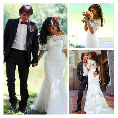 Modern Off-the-shoulder Half-sleeve Mermaid Wedding Dress With Lace_6
