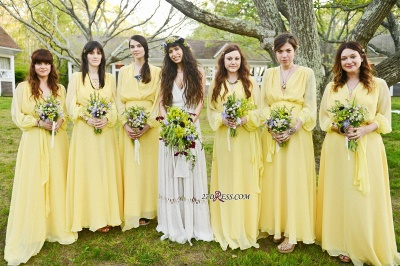 Chiffon Chic Long-Sleeve V-Neck Yellow Bridesmaid Dress_2