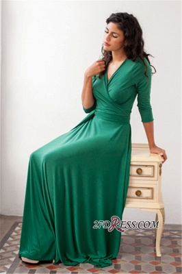 V-neck Belted 3/4-Length-Sleeves Beautiful Bridesmaid Dresses_3