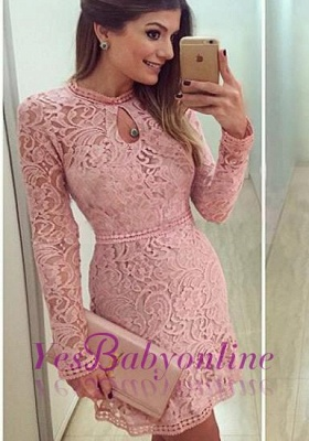 2020 Neckline Short Sleeves A-line Lace Scoop Pink Long Prom Dress BA4047_2