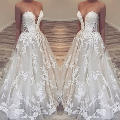Elegant Sweetheart Lace 2020 Wedding Dresses | Lace Appliques Princess Bridal Gowns_2