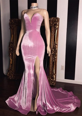 Elegant Pink Velvet Sweetheart Prom Dresses | 2020 Mermaid Long Evening Gowns With Slit BC1231_1