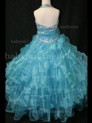 Beaded Sexy Girls Pageant Dresses for Sale Inexpensive 2020 Crystal Floor-length Organza Gowns Online_3