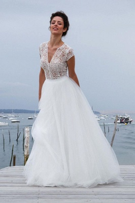 Tulle Simple Short-Sleeves A-line V-neck Chic Wedding Dress_1
