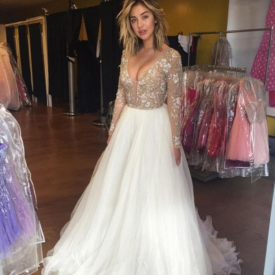 Beautiful long Sleeve Prom Dresses 2020 Beadings Tulle Appliques BA3219_3