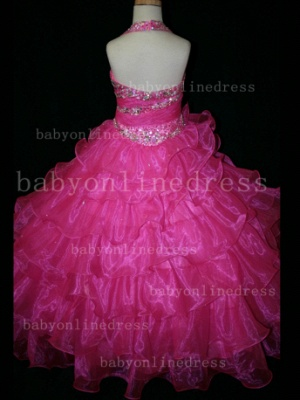 Beaded Sexy Girls Pageant Dresses for Sale Inexpensive 2020 Crystal Floor-length Organza Gowns Online_5