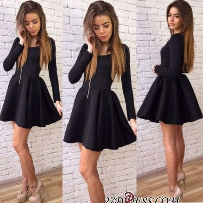 Black A-line Sexy Short Long-Sleeves Homecoming Dresses_2