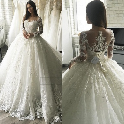 Glamorous Long Sleeve Lace Bridal Gowns | 2020 Ball Gown Zipper Wedding Dress_2