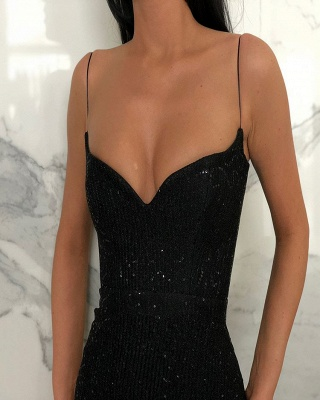 Glamorous Sleeveless Mermaid Evening Dresses | Black V-Neck Spaghetti-Strapes Sequins Prom Dresses BC0274_3