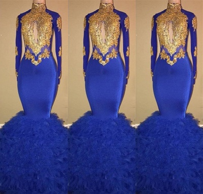 Gorgeous High-Neck Long Sleeve Prom Dresses | 2020 Mermaid Royal Blue Evening Gowns BC0854_2
