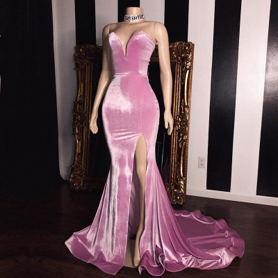 Elegant Pink Velvet Sweetheart Prom Dresses | 2020 Mermaid Long Evening Gowns With Slit BC1231_2