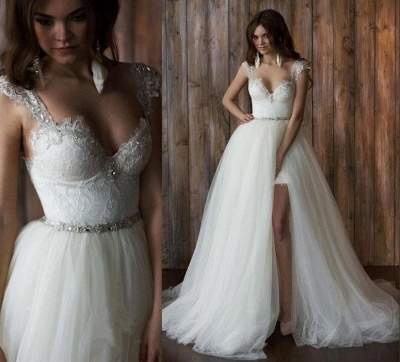 Glamorous Cap Sleeve Lace 2020 Wedding Dress Tulle Detachable_3