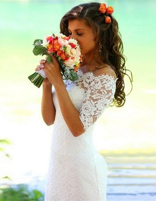 Modern Off-the-shoulder Half-sleeve Mermaid Wedding Dress With Lace_7