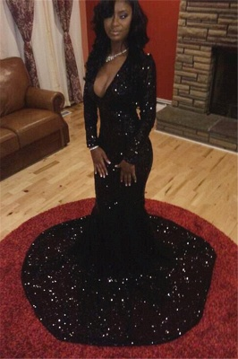 Sexy Black Long Sleeve Prom Dress 2020 Sequins Mermaid Party Gowns CE047 BK0_2