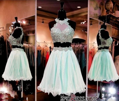 Halter Two-Pieces Sleeveless Short Popular Appliques Homecoming Dress_2
