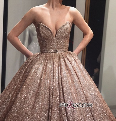 Ball-Gown Sleeveless Shiny Sweetheart Sashes Sequins Prom Dresses_1