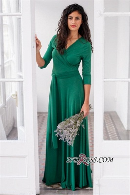 V-neck Belted 3/4-Length-Sleeves Beautiful Bridesmaid Dresses_4