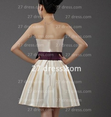 Mini Wedding Dress with Purple Wholesale Satin Bridesmaid Fashion Party Dresse Bowknot_2