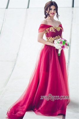 Tulle Off-the-Shoulder Appliques Glamorous A-line Bridesmaid Dress_4