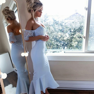 Newest Lace Off-the-shoulder Mermaid Bridesmaid Dress | 2020 Cheap Tea-length Dress_2