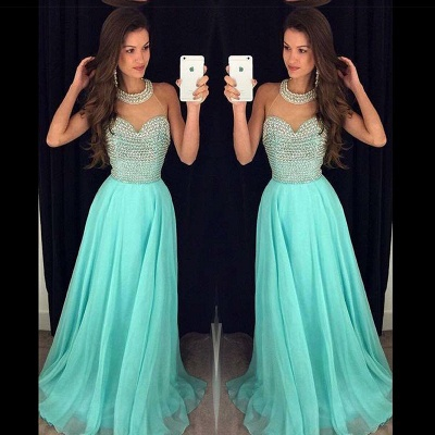Timeless Beads High-Neck Long Prom Dress 2020 Chiffon Sleeveless Party Gowns AP0_2