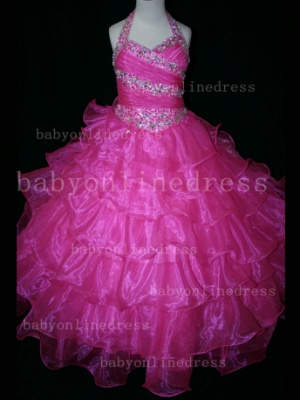 Beaded Sexy Girls Pageant Dresses for Sale Inexpensive 2020 Crystal Floor-length Organza Gowns Online_4