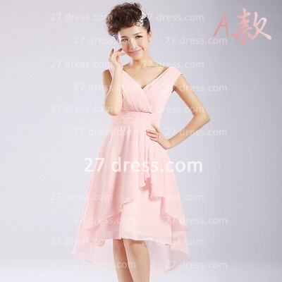 Bridesmaid Dresses,knee-length Prom Gown A-line 12 Styles Chiffon Ruffles_7