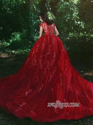 Luxurious Red Cap Sleeve 2020 Prom Dress Lace Appliques With Ruffles MH0_5