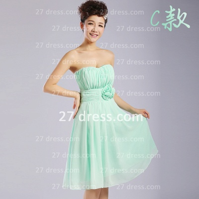 Bridesmaid Dresses,knee-length Prom Gown A-line 12 Styles Chiffon Ruffles_3