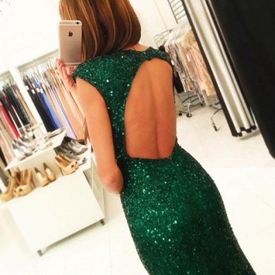 Floor-length Backless Sheath-Column Sequins Sexy Green Evening Dress_4