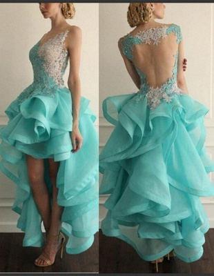 Sexy Hi-Lo Sleeveless Prom Dress With Appliques Ruffles_2